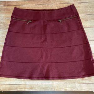 Athleta maroon cotton blend pockets skirt L D3